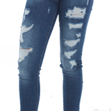 Distressed Denim Jean - Dark