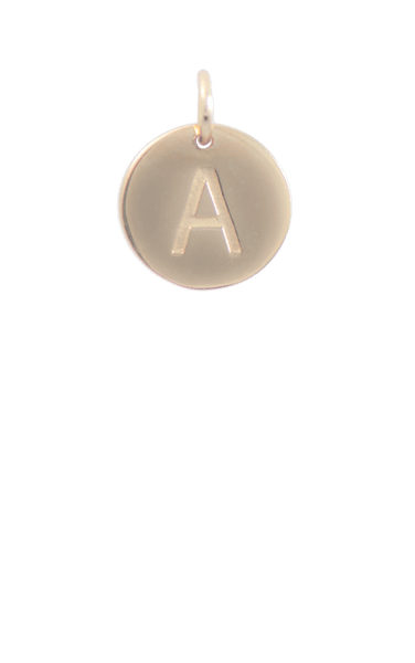 Gold Disc Letter A Charm, 14 gold plated