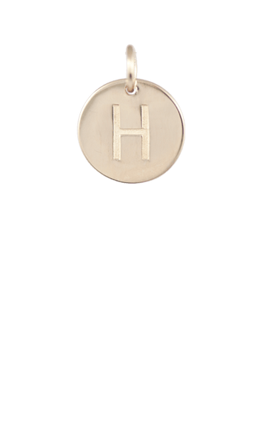 Teen Gift Ideas, Gold Disc Letter H Charm