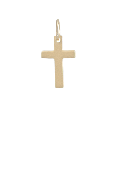 Cross Gold Charm, 14k Gold Plated