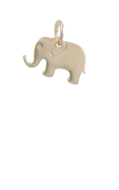 Elephant Gold Charm, 14k Gold Plated