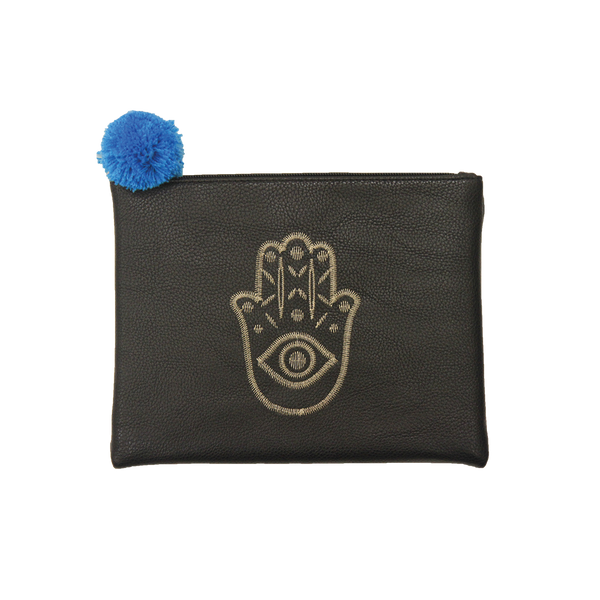 Embroidered  Hamsa Pouch