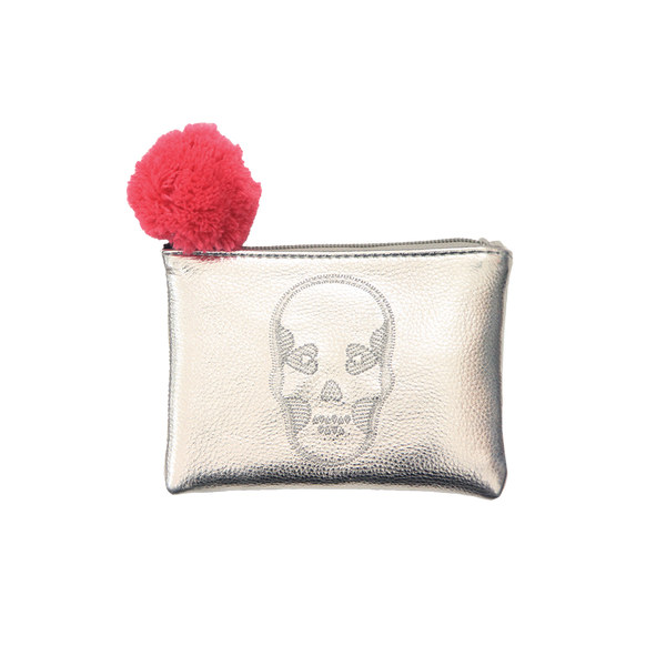 Mini Embroidered Skull Pouch