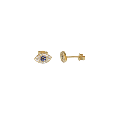 Blue Stone Evil Eye Earrings - Gold