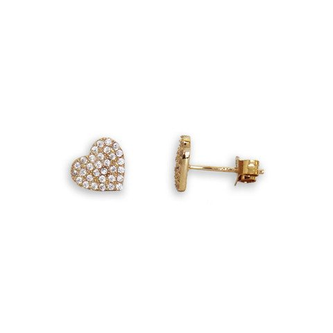 Gold Heart Earrings inset with Crystals