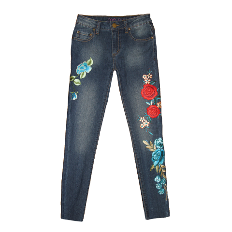 Rose Embroidered Jeans, From me.n.u