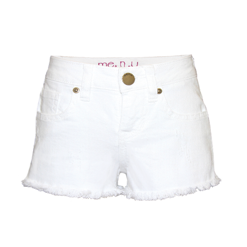 Girls Basic Denim Shorts - White, From me.n.u