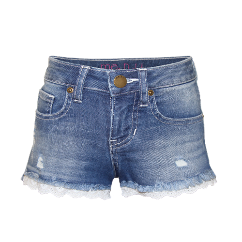 Girls Eyelet Trim Denim Shorts, From me.n.u