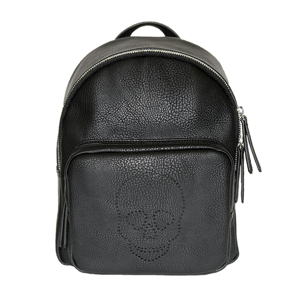 Black Faux Leather Backpack with perforated skull design