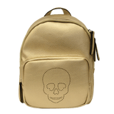 Gold Metallic Backpack for Tweens with perforated skull design