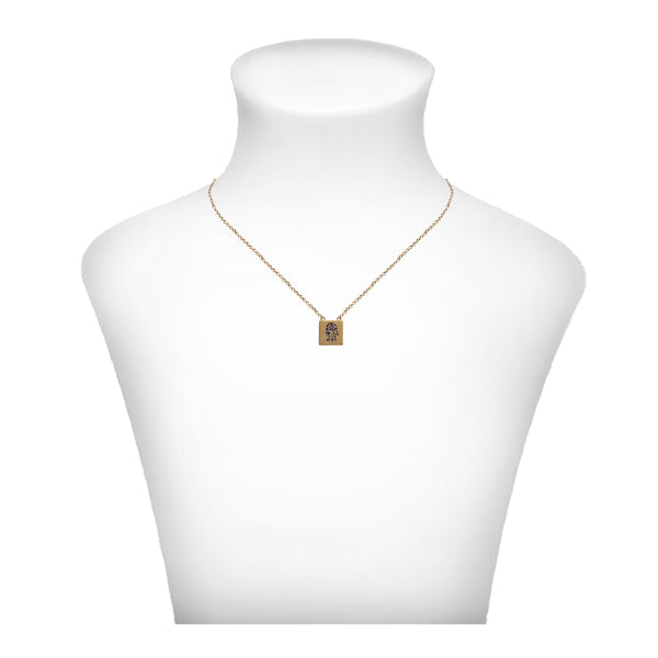 Crystal Hamsa Necklace - Gold