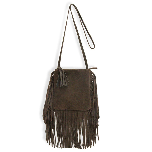 Suede Fringe Purse in Brown
