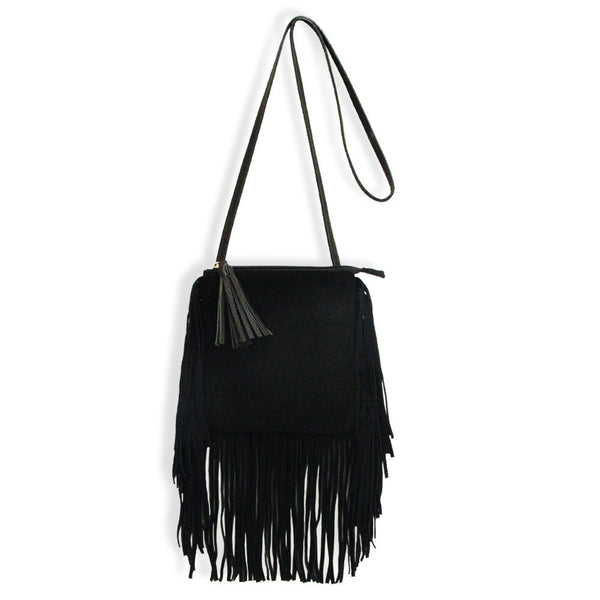 Suede Fringe Purse in Black