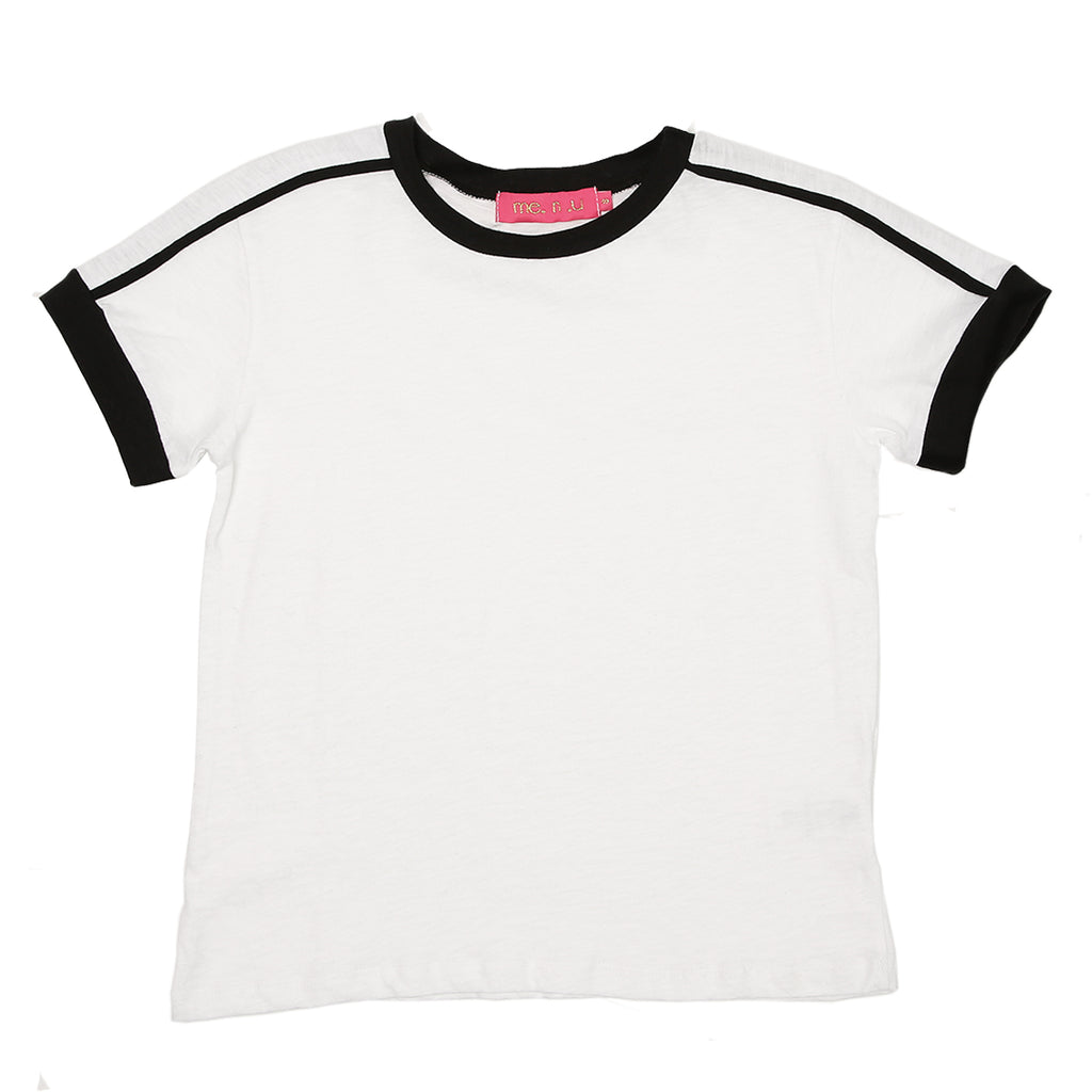 Contrast Piping Tee- White/Blk