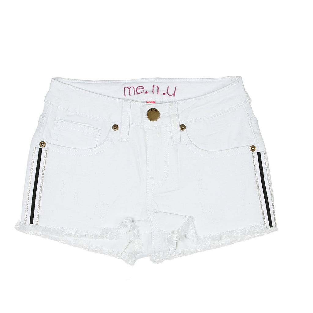 Crystal Tuxedo Denim Short - White