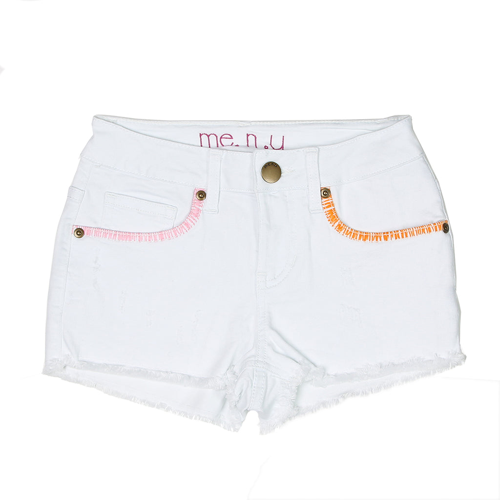 Whip Stitch Denim Short - White