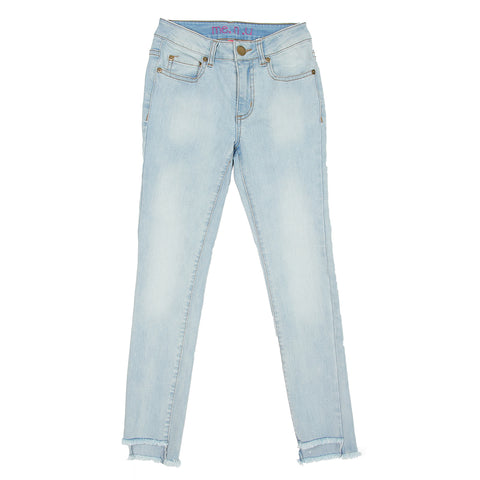 Step Up Hem Jean- Bleach Wash