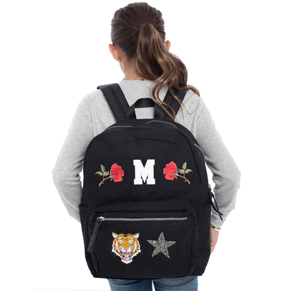 Custom Letter Patch Backpack - Black
