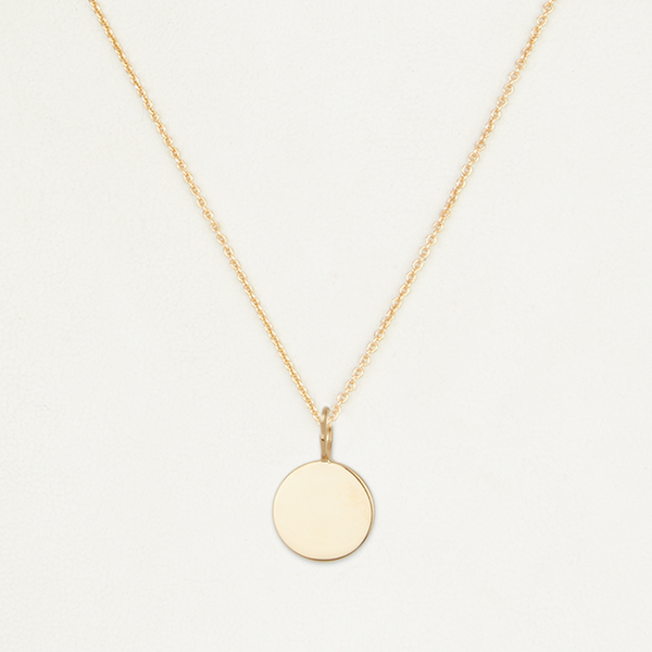 Engraved Disc Necklace - Gold