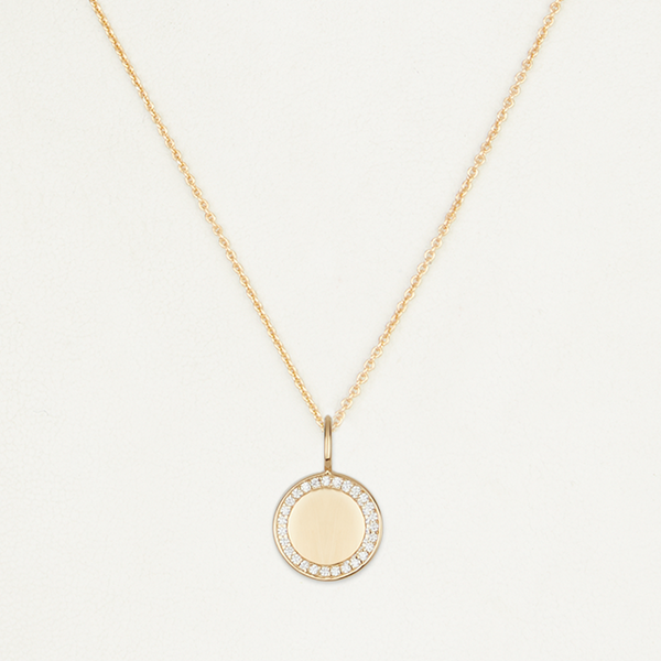 Engraved Crystal Disc Necklace - Gold