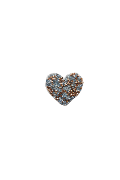 Mini Heart Rock Crystal - Blue/Rose Gold