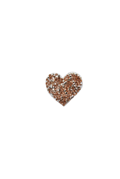 Mini Heart Rock Crystal - Silver/Rose Gold
