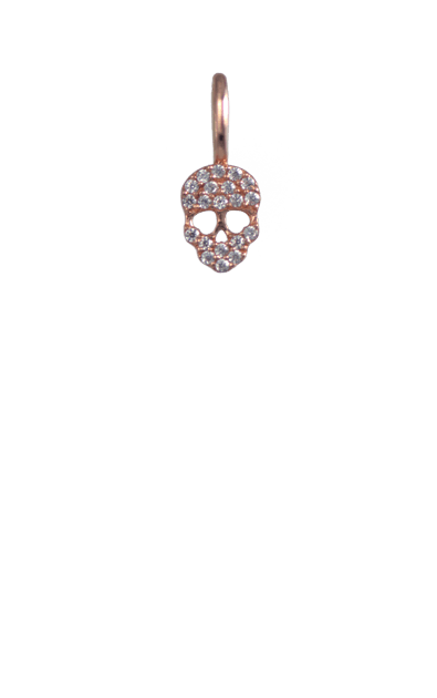 Mini Crystal Rose Gold Skull Charm