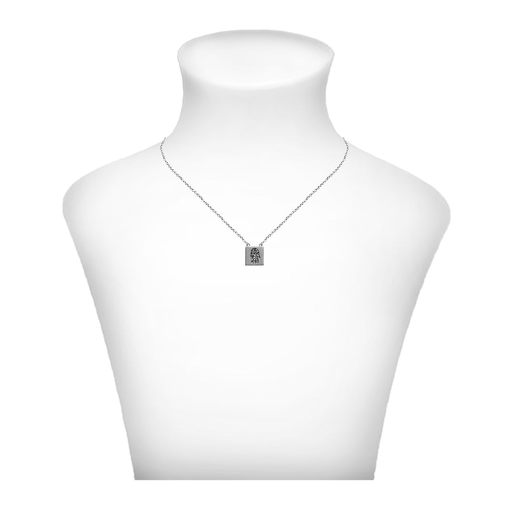 Crystal Hamsa Necklace - Silver