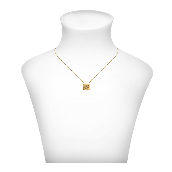 Crystal Heart  Necklace - Gold