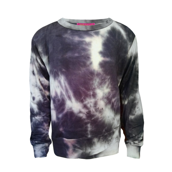 Crisscross Band Sweatshirt - Black Tie Dye
