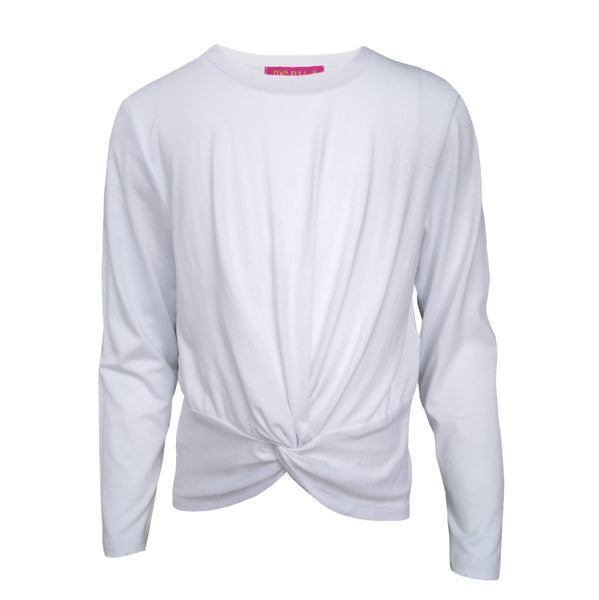 Long Sleeve Twist Front Tee - White