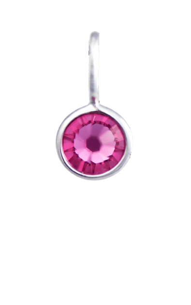 October Birthstone Silver Charm