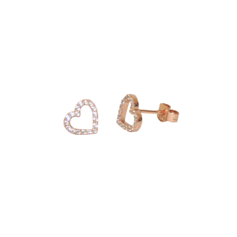 Open Heart Earrings - Rose Gold
