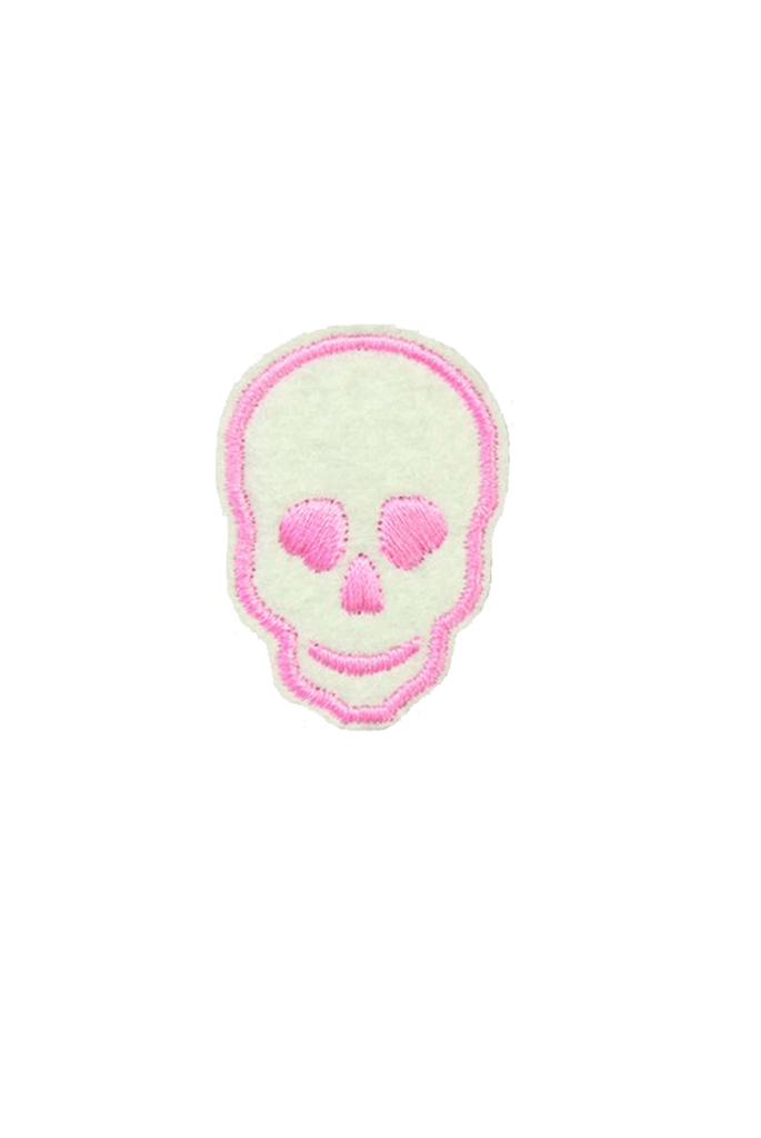 Pink Skull Iron On Patch_Tag From me.n.u