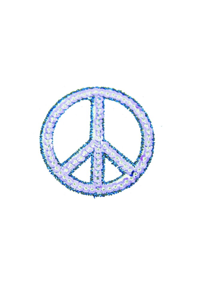 Blue Peace Sign Iron On patch_tag from me.n.u
