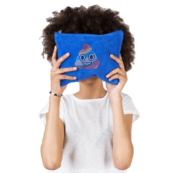 Blue Suede Emoji Clutch