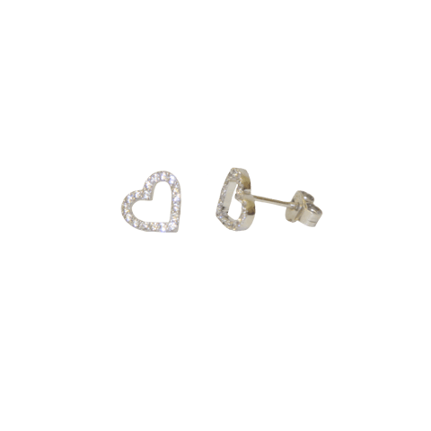 Open Heart Earrings - Silver