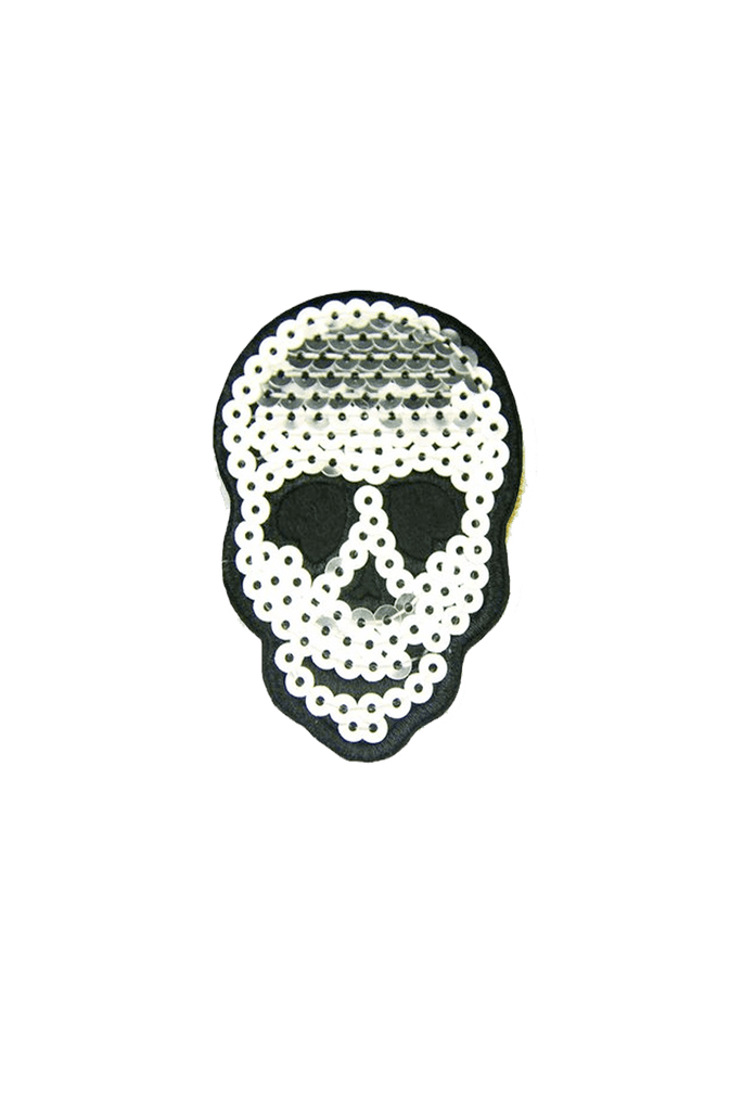 Silver Sequin Patch Tag Skull by me.n.u