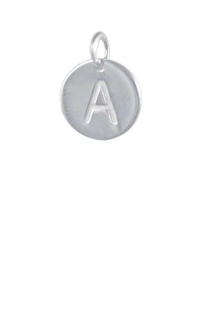 Silver Disc Letter A Charm, Sterling silver plated