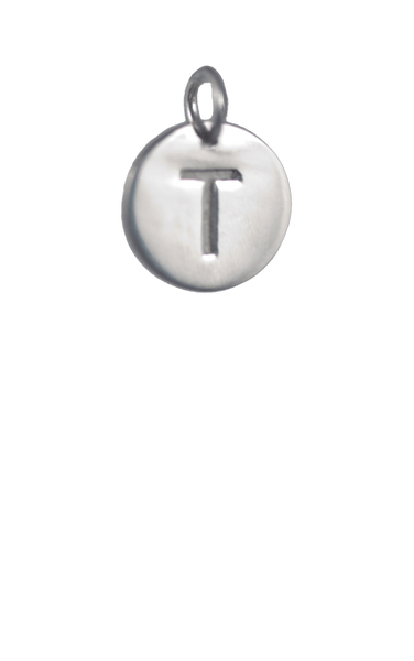 Tween Gift Ideas, Silver Disc Letter T Charm