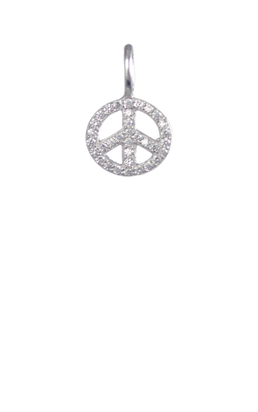 Crystal Silver Charm - Peace Sign