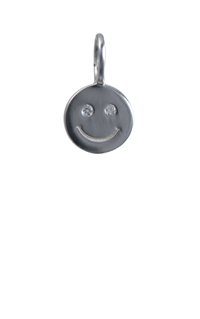Crystal Silver Charm - Smiley Face