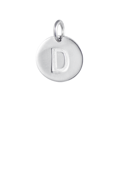 Silver Disc Letter D Initial, Sterling silver plated