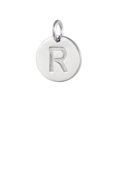 Tween Gift Ideas, Silver Disc Letter R Charm