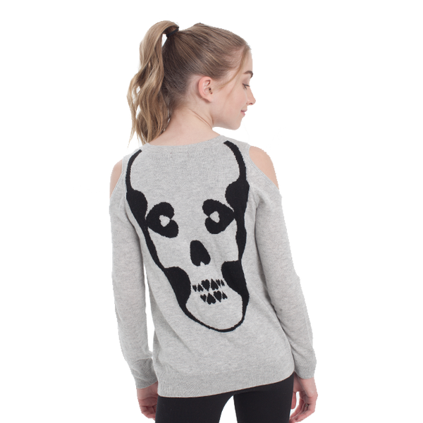 Skull Cold Shoulder Sweater