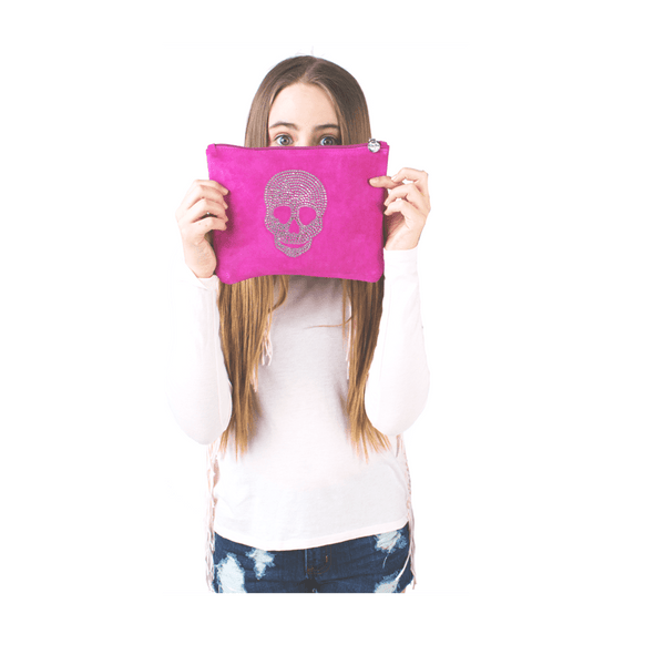 Pink Suede Clutch with crystal skull design