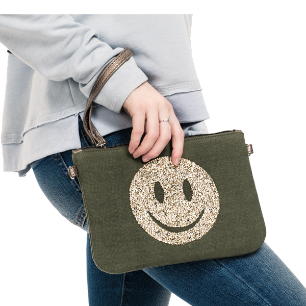 Canvas Crystal Smiley Clutch