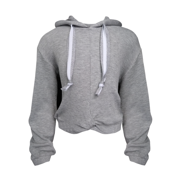 Twist Front Hoody - Heather Grey