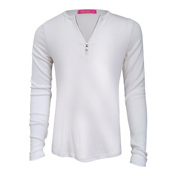 Zip Rib Top - White
