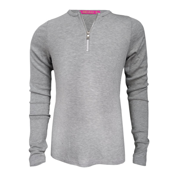 Zip Rib Top - Grey